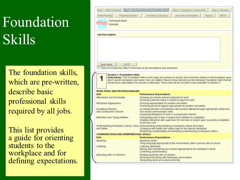 Foundation Skills The foundation skills, which are pre-written, describe basic professional skills required by all jobs.
