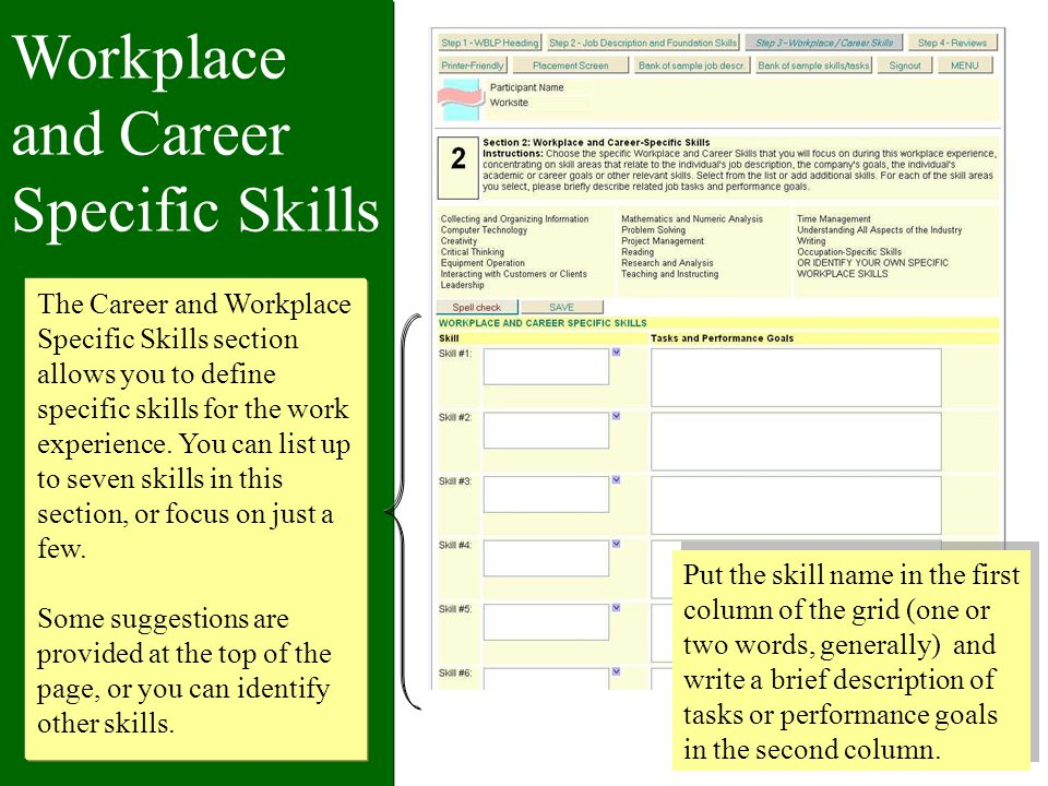 Workplace and Career Specific Skills The Career and Workplace Specific Skills section allows you to define specific skills for the work experience.
