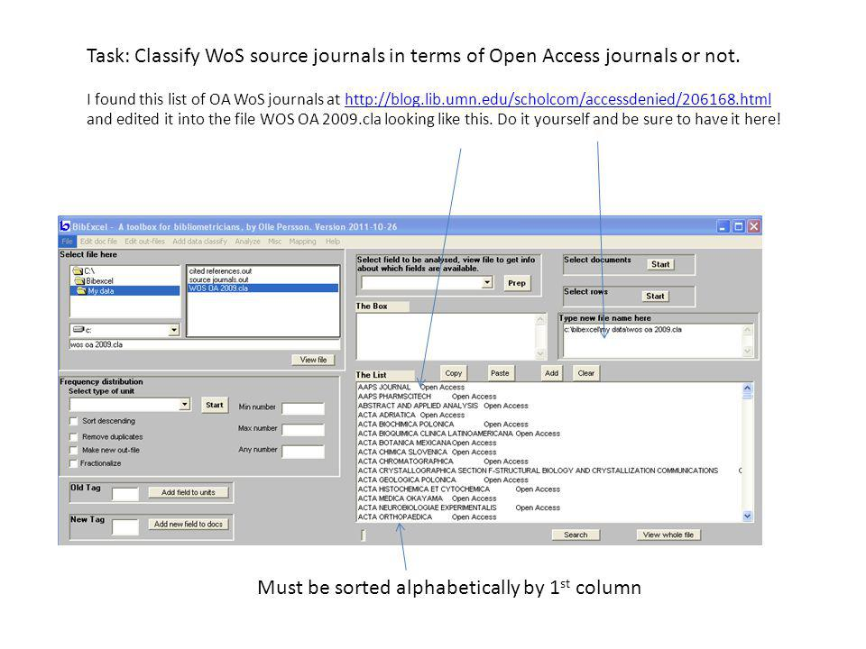 Task: Classify WoS source journals in terms of Open Access journals or not. I found this list of OA WoS journals at http://blog.lib.umn.edu/scholcom/a
