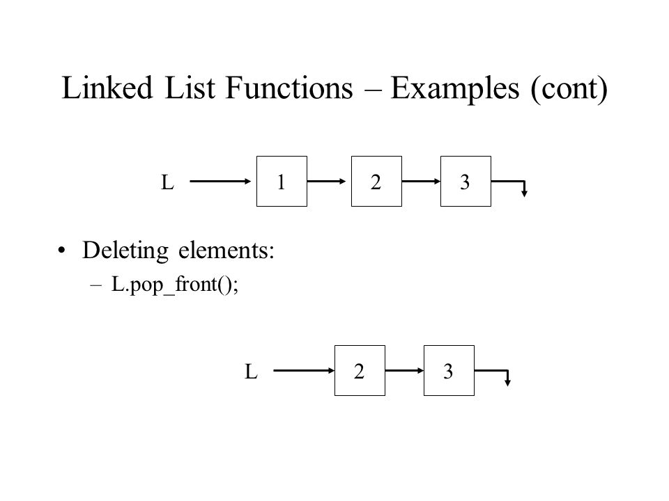 Linked List Functions – Examples (cont) Deleting elements: –L.pop_front(); L123L32