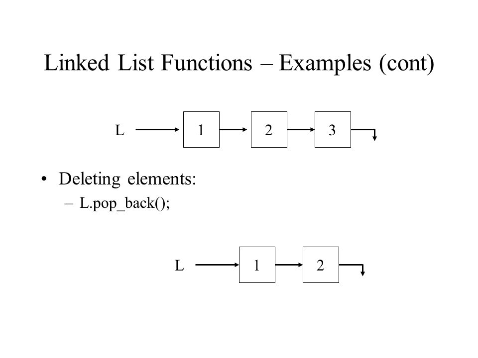 Linked List Functions – Examples (cont) Deleting elements: –L.pop_back(); L123L21