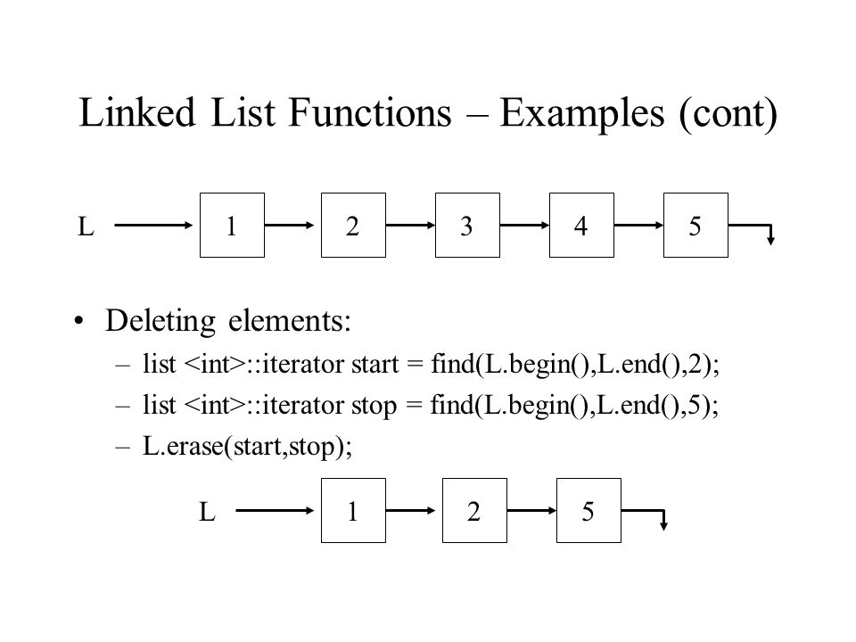 Linked List Functions – Examples (cont) Deleting elements: –list ::iterator start = find(L.begin(),L.end(),2); –list ::iterator stop = find(L.begin(),L.end(),5); –L.erase(start,stop); L12534L125