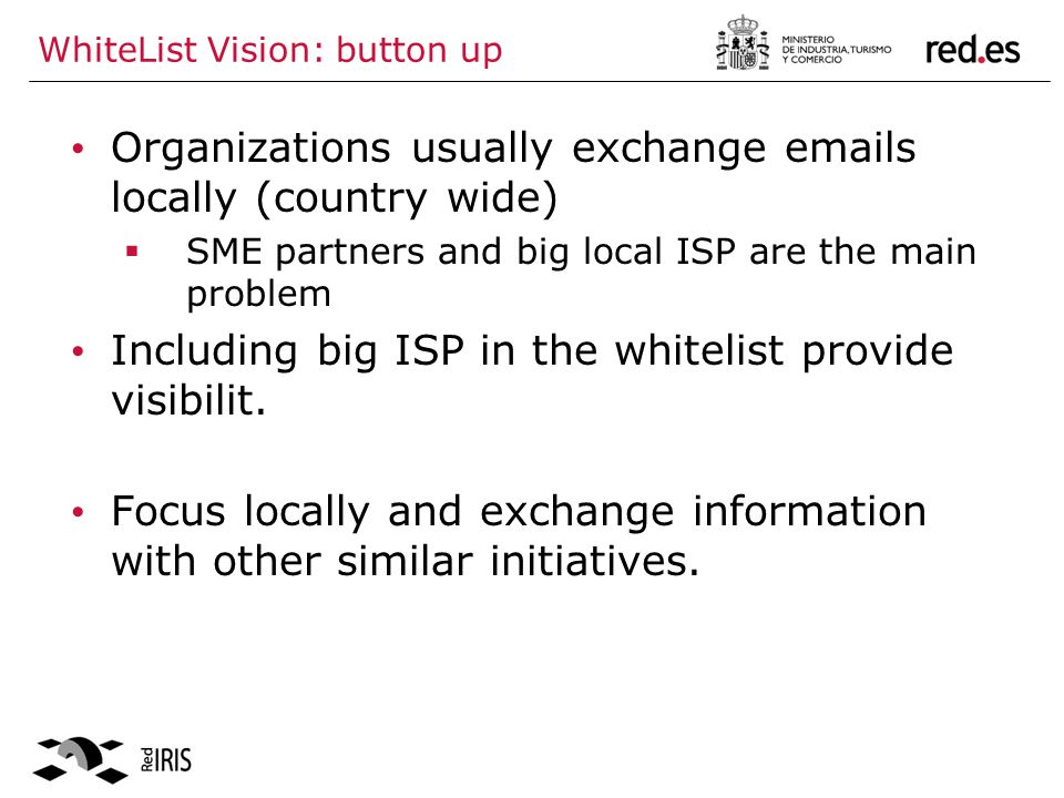 WhiteList Vision: button up Organizations usually exchange  s locally (country wide) SME partners and big local ISP are the main problem Including big ISP in the whitelist provide visibilit.