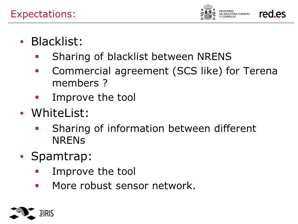 Expectations: Blacklist: Sharing of blacklist between NRENS Commercial agreement (SCS like) for Terena members .