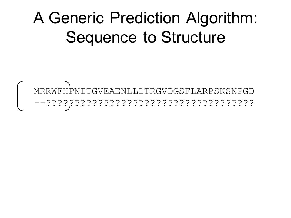 A Generic Prediction Algorithm: Sequence to Structure MRRWFHPNITGVEAENLLLTRGVDGSFLARPSKSNPGD --