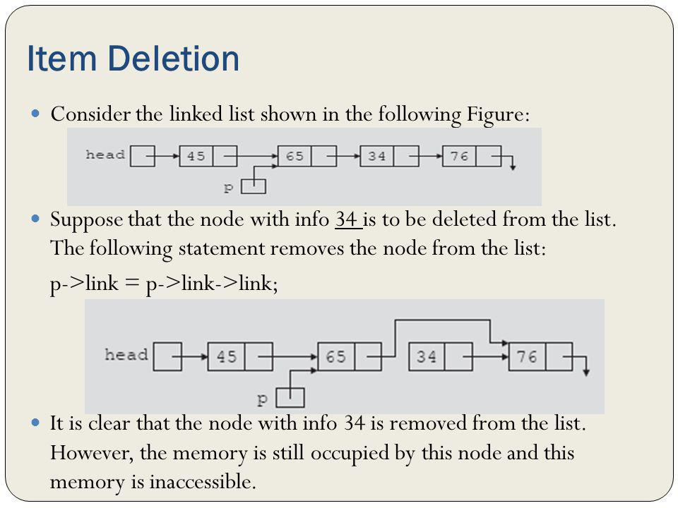 Item Deletion Consider the linked list shown in the following Figure: Suppose that the node with info 34 is to be deleted from the list. The following