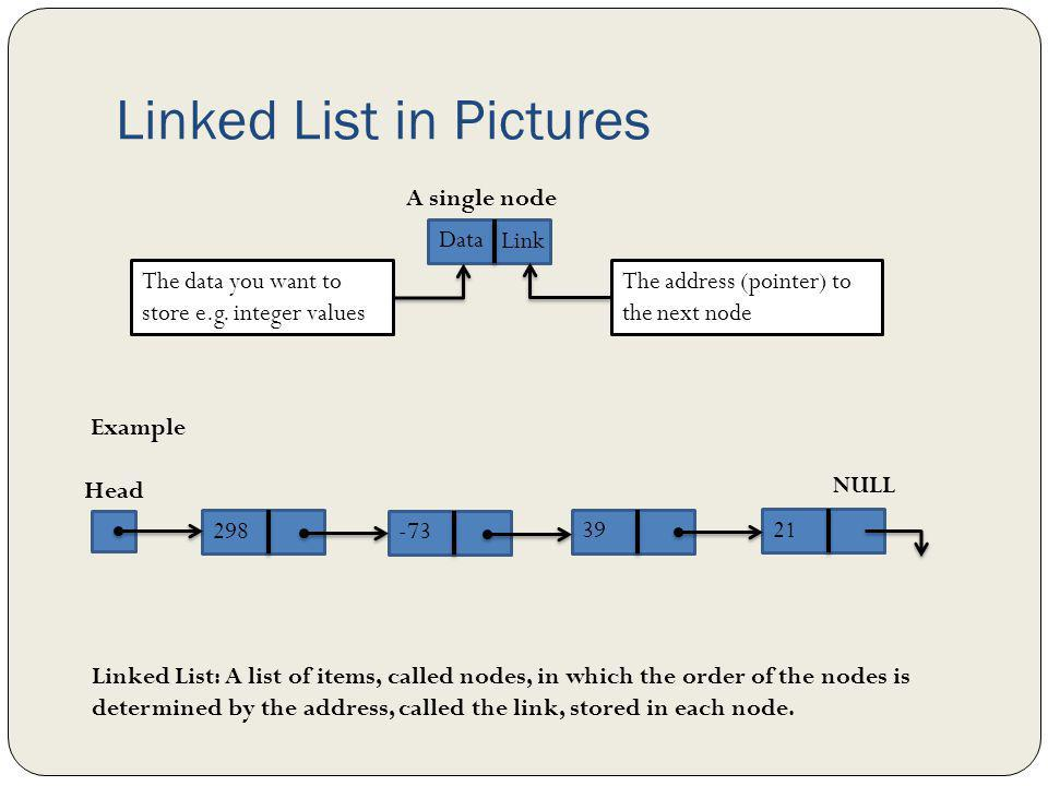 Linked List Declaration Because each node of a linked list has two components, we need to declare each node as a class or struct The data type of each node depends on the specific applicationthat is, what kind of data is being processed.