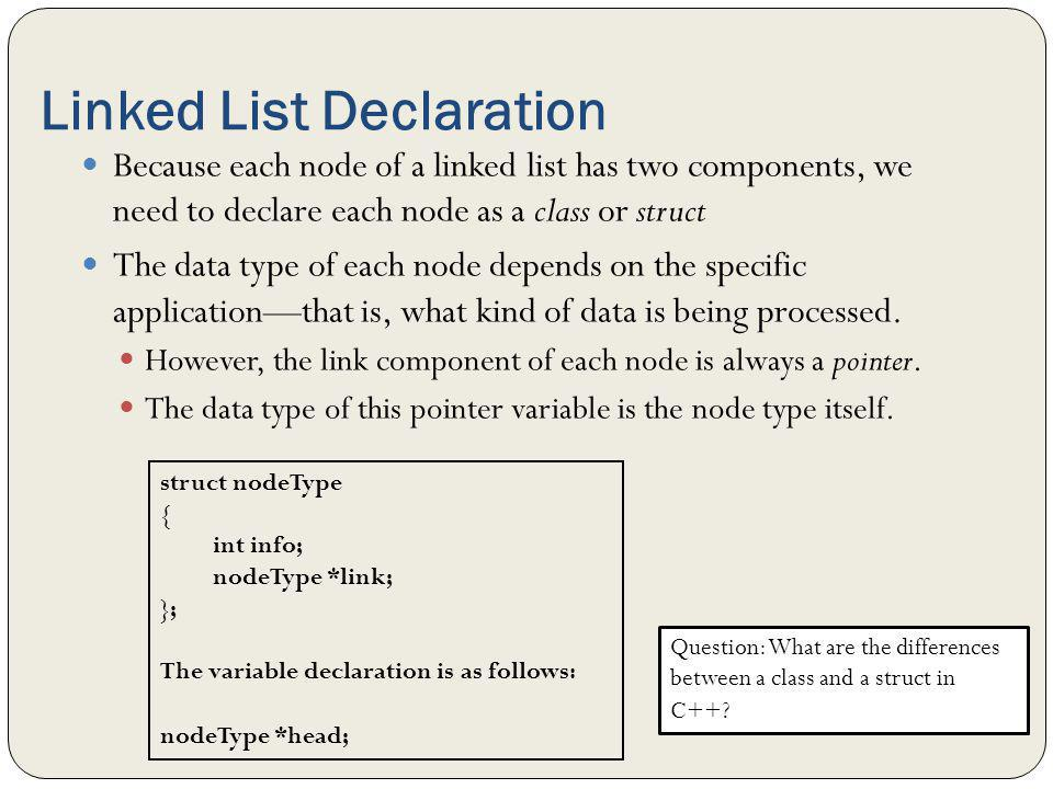 Linked List Declaration Because each node of a linked list has two components, we need to declare each node as a class or struct The data type of each