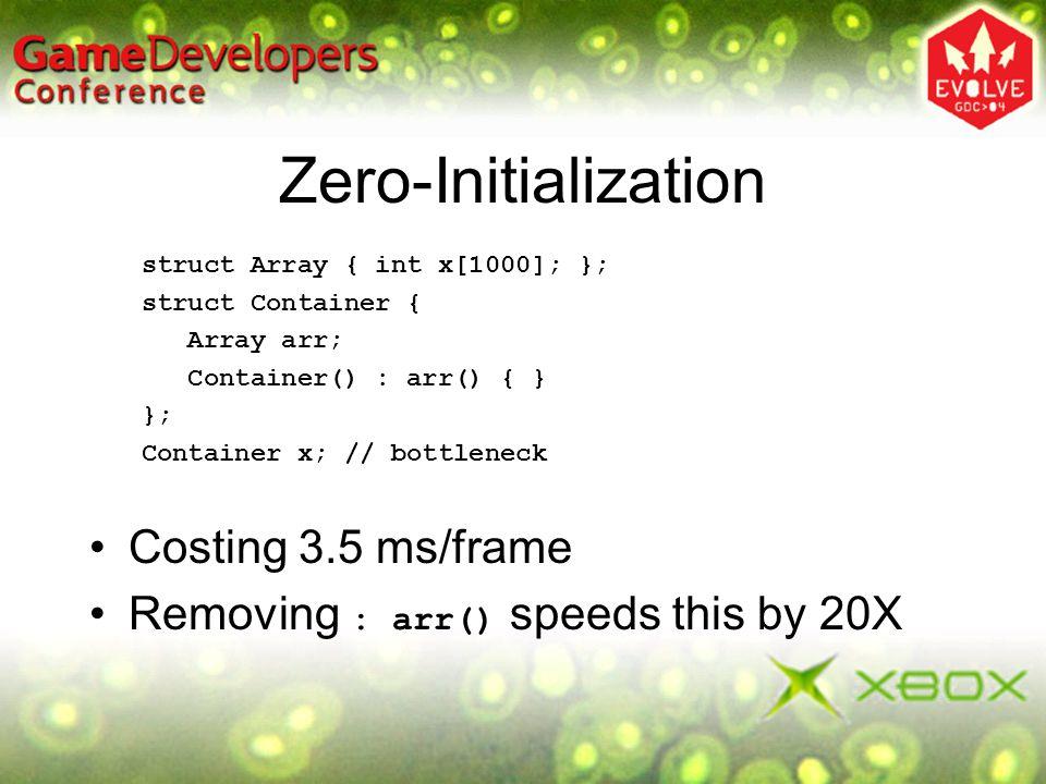 Zero-Initialization struct Array { int x[1000]; }; struct Container { Array arr; Container() : arr() { } }; Container x; // bottleneck Costing 3.5 ms/