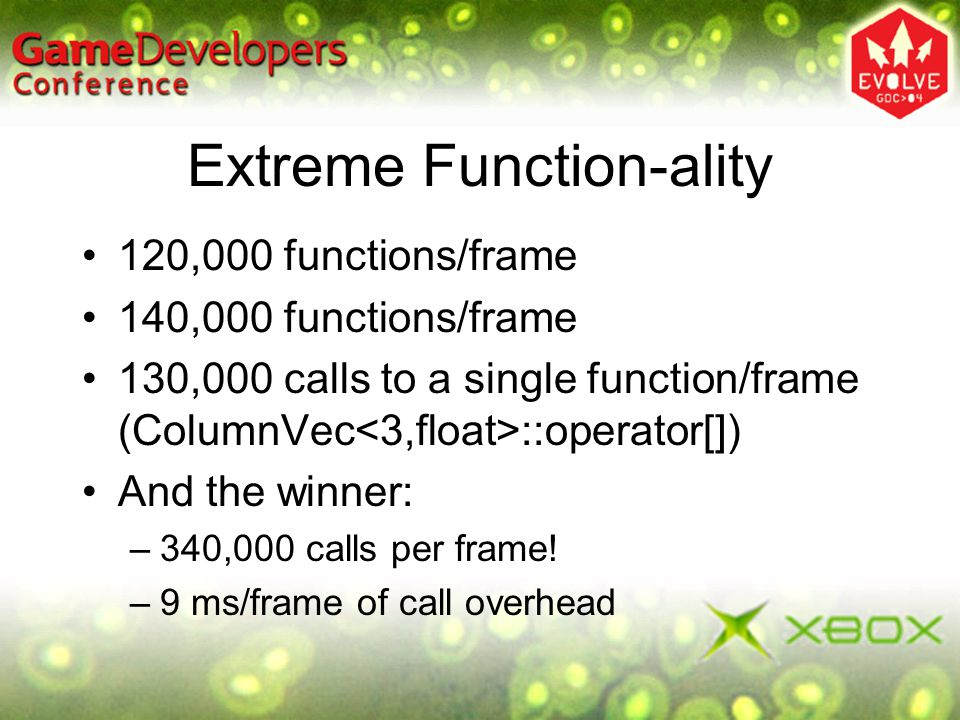 Extreme Function-ality 120,000 functions/frame 140,000 functions/frame 130,000 calls to a single function/frame (ColumnVec ::operator[]) And the winne