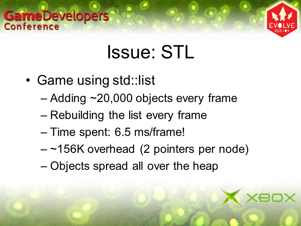 Issue: STL Game using std::list –Adding ~20,000 objects every frame –Rebuilding the list every frame –Time spent: 6.5 ms/frame! –~156K overhead (2 poi