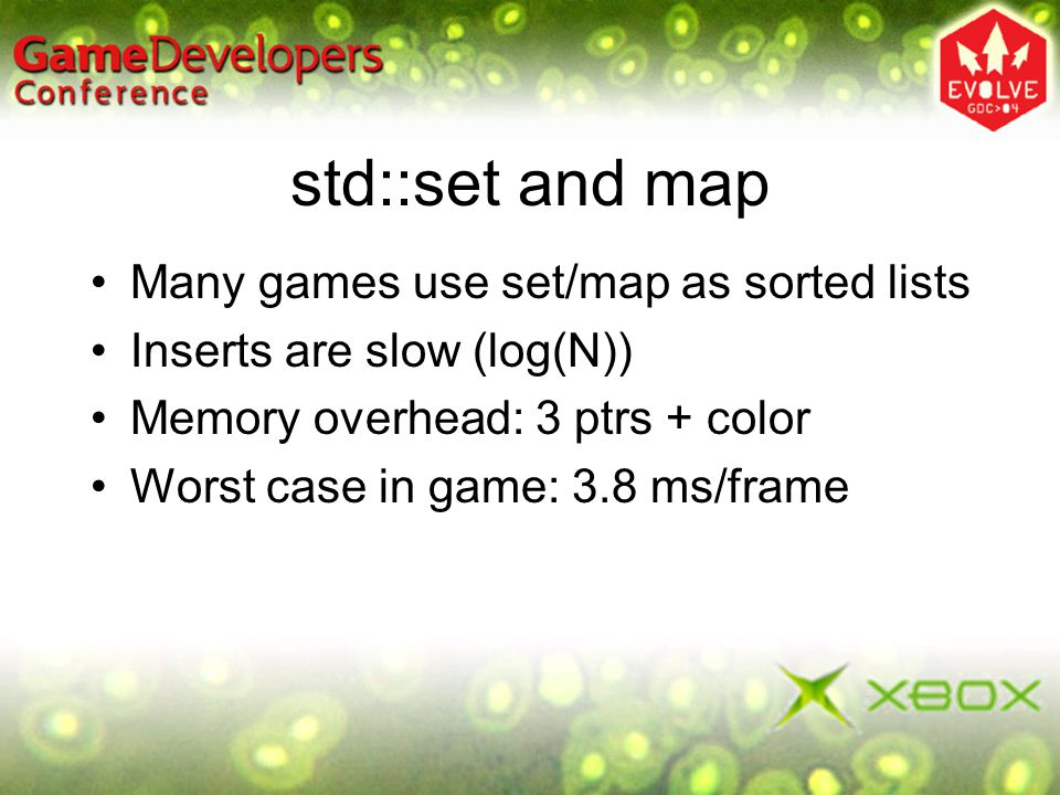 std::set and map Many games use set/map as sorted lists Inserts are slow (log(N)) Memory overhead: 3 ptrs + color Worst case in game: 3.8 ms/frame