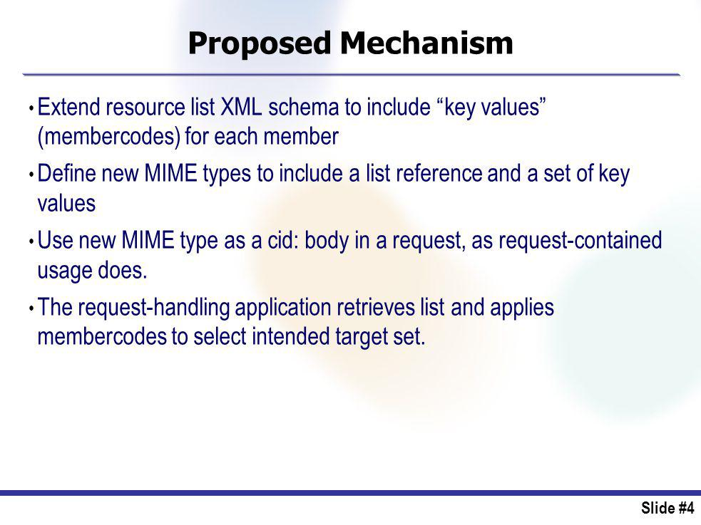 Slide #4 Proposed Mechanism Extend resource list XML schema to include key values (membercodes) for each member Define new MIME types to include a list reference and a set of key values Use new MIME type as a cid: body in a request, as request-contained usage does.