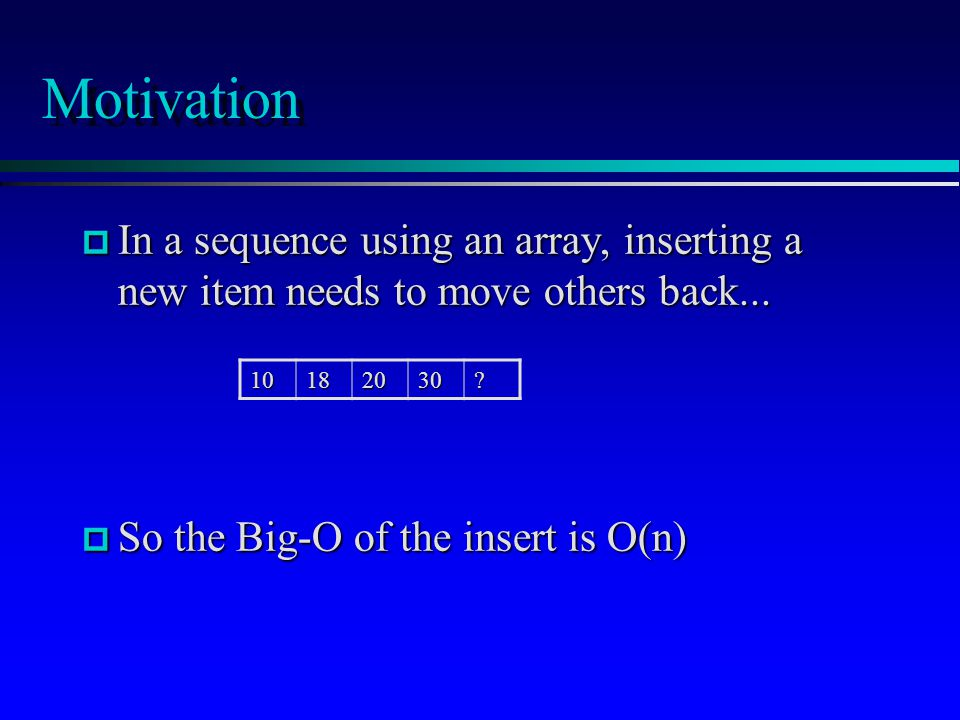 Motivation p In a sequence using an array, inserting a new item needs to move others back... p So the Big-O of the insert is O(n) 10182030?