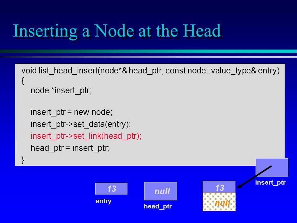 void list_head_insert(node*& head_ptr, const node::value_type& entry) { node *insert_ptr; insert_ptr = new node; insert_ptr->set_data(entry); insert_ptr->set_link(head_ptr); head_ptr = insert_ptr; } Inserting a Node at the Head head_ptr entry 13 null insert_ptr 13 null