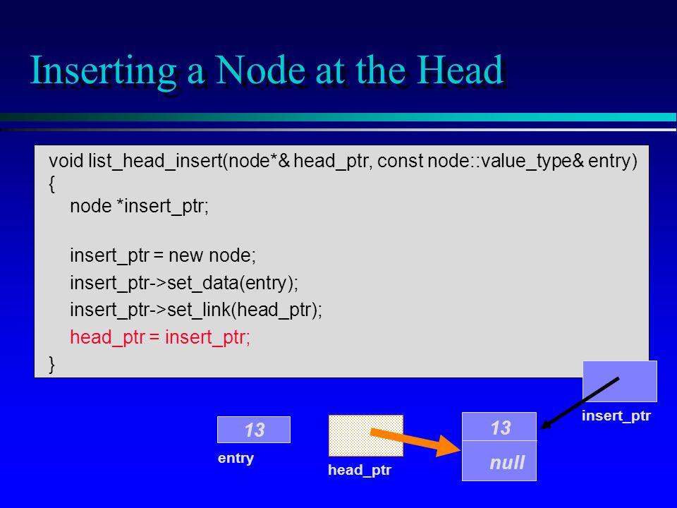 void list_head_insert(node*& head_ptr, const node::value_type& entry) { node *insert_ptr; insert_ptr = new node; insert_ptr->set_data(entry); insert_ptr->set_link(head_ptr); head_ptr = insert_ptr; } Inserting a Node at the Head head_ptr entry 13 insert_ptr 13 null