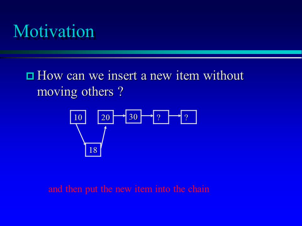 Motivation p How can we insert a new item without moving others ? 18 ?? 30 2010 and then put the new item into the chain