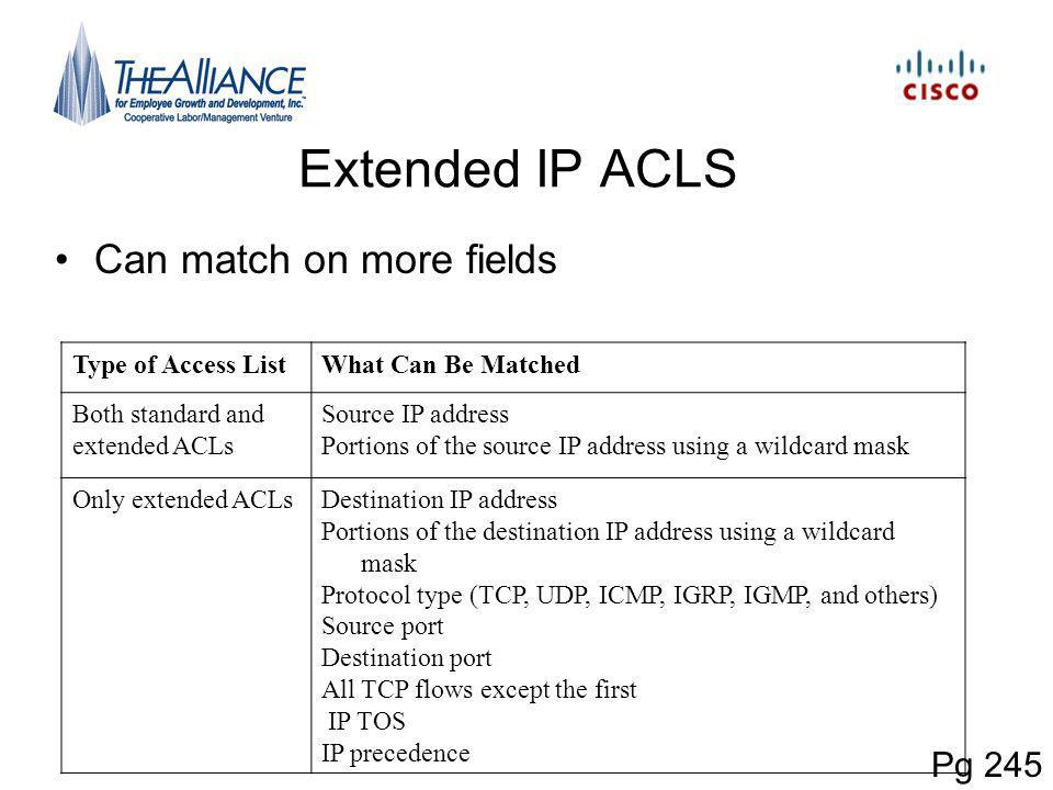 Extended IP ACLS Can match on more fields Pg 245 Type of Access ListWhat Can Be Matched Both standard and extended ACLs Source IP address Portions of the source IP address using a wildcard mask Only extended ACLsDestination IP address Portions of the destination IP address using a wildcard mask Protocol type (TCP, UDP, ICMP, IGRP, IGMP, and others) Source port Destination port All TCP flows except the first IP TOS IP precedence