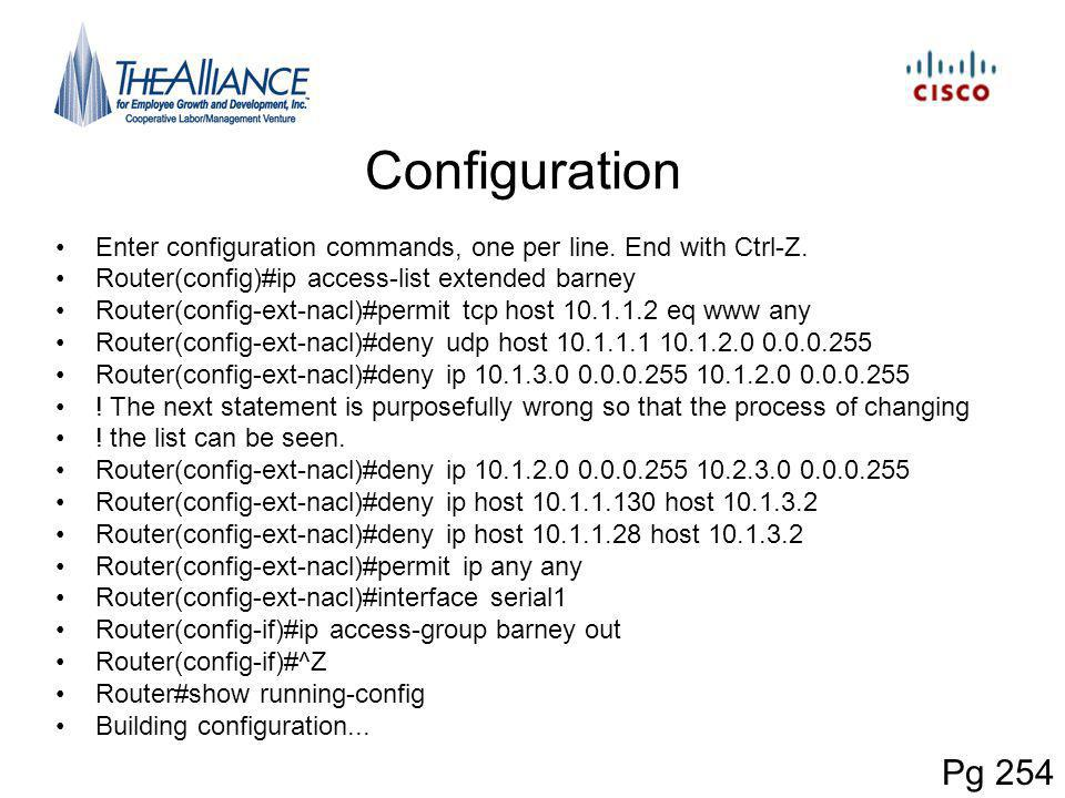 Configuration Enter configuration commands, one per line. End with Ctrl-Z. Router(config)#ip access-list extended barney Router(config-ext-nacl)#permi