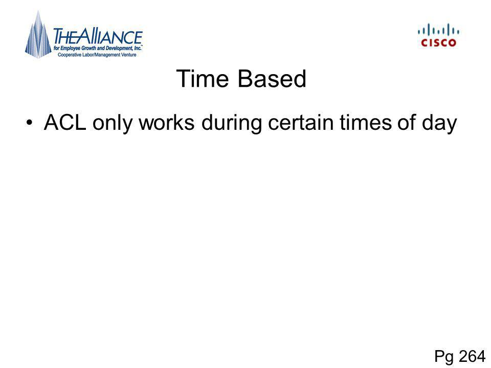 Time Based ACL only works during certain times of day Pg 264