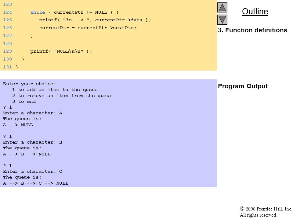 Outline 2000 Prentice Hall, Inc. All rights reserved. 3. Function definitions Program Output 123 124 while ( currentPtr != NULL ) { 125 printf(