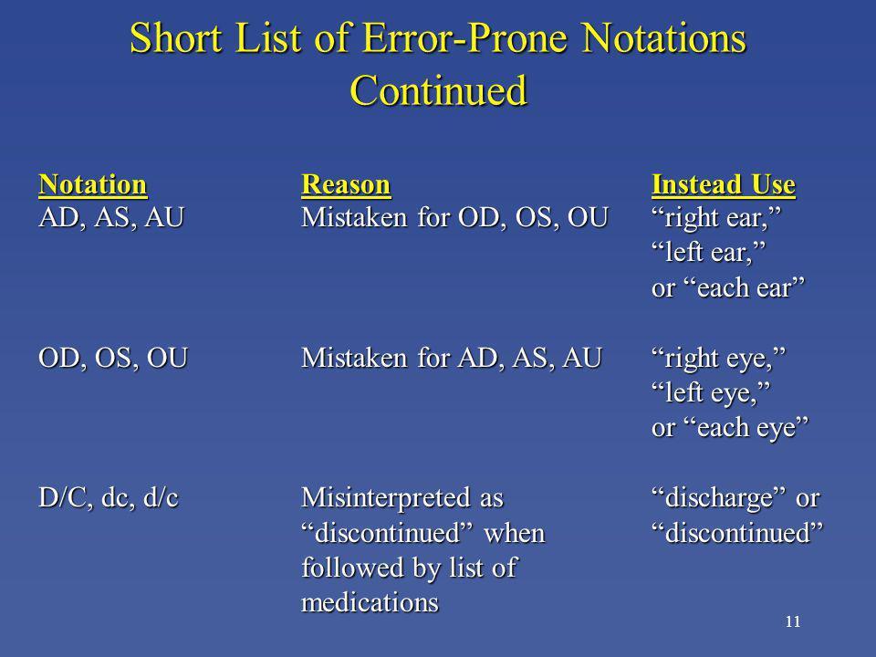 11 NotationReasonInstead Use AD, AS, AUMistaken for OD, OS, OUright ear, left ear, or each ear OD, OS, OUMistaken for AD, AS, AUright eye, left eye, o