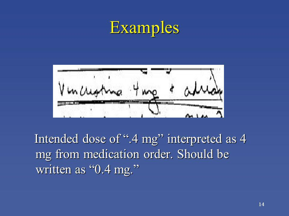 14 Examples Intended dose of.4 mg interpreted as 4 mg from medication order. Should be written as 0.4 mg. Intended dose of.4 mg interpreted as 4 mg fr