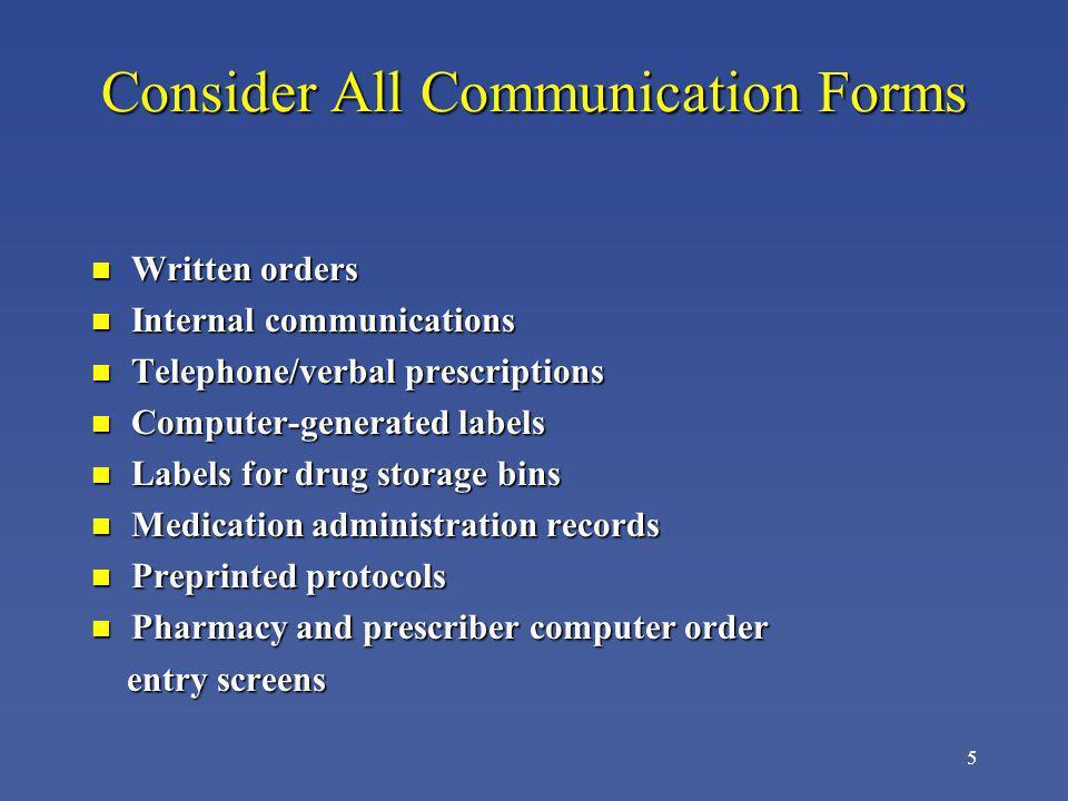 5 Consider All Communication Forms n Written orders n Internal communications n Telephone/verbal prescriptions n Computer-generated labels n Labels fo