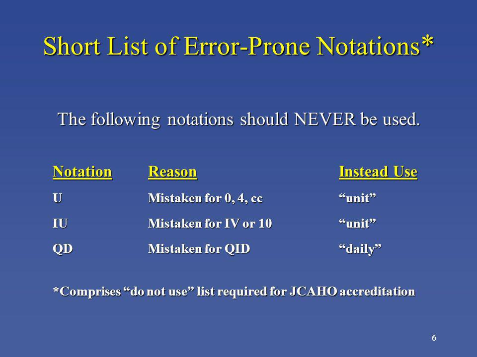 7 Short List of Error-Prone Notations Continued NotationReasonInstead Use QODMistaken for QID, QDevery other day Trailing zero Decimal point missedX mg (X.0 mg) Naked decimal Decimal point missed 0.X mg point (.X mg)