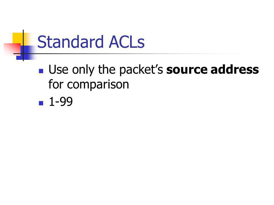 Standard ACLs Use only the packets source address for comparison 1-99