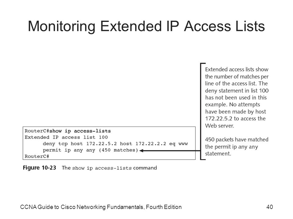 CCNA Guide to Cisco Networking Fundamentals, Fourth Edition40 Monitoring Extended IP Access Lists