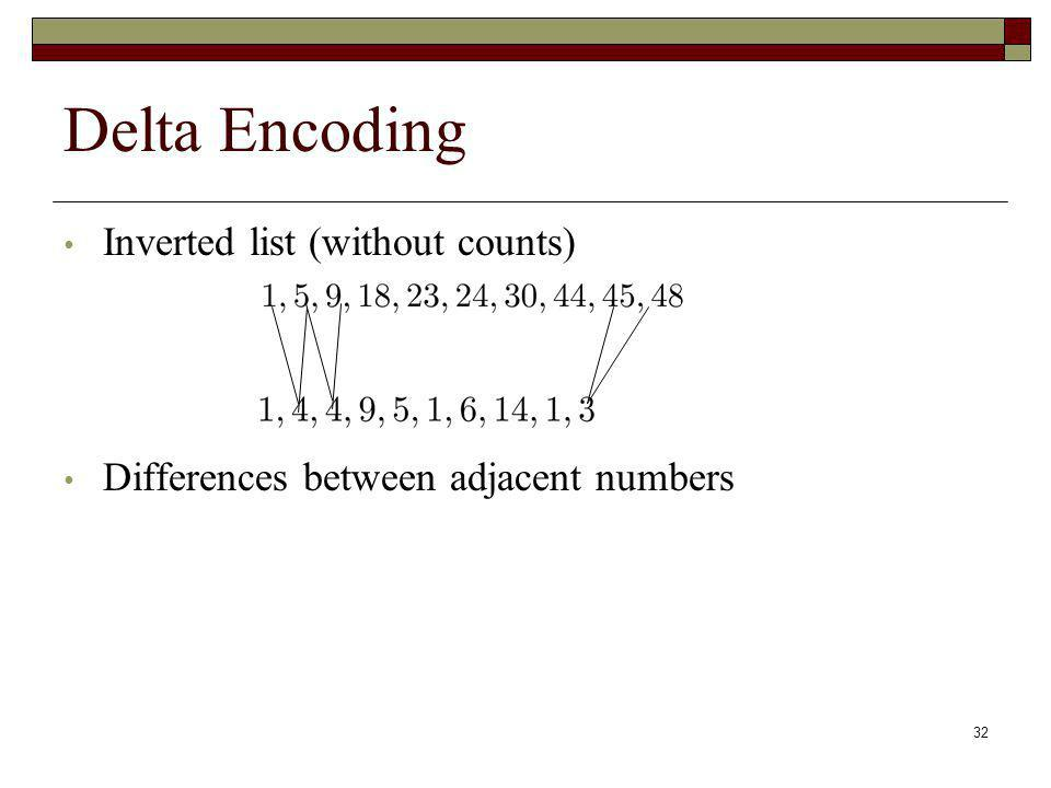 32 Delta Encoding Inverted list (without counts) Differences between adjacent numbers