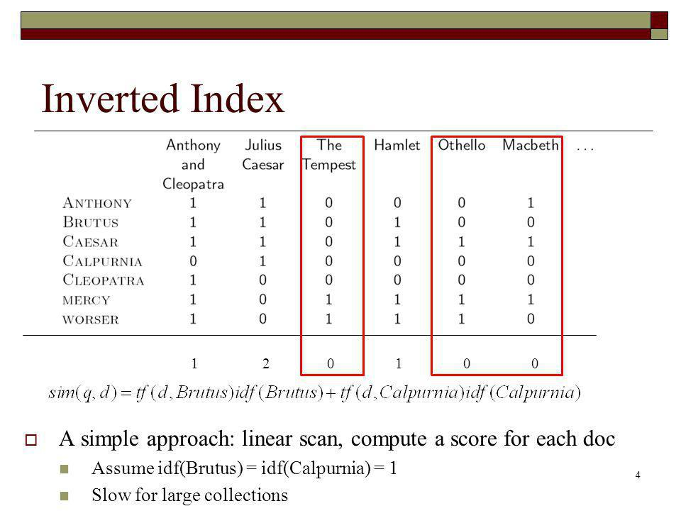 4 Inverted Index A simple approach: linear scan, compute a score for each doc Assume idf(Brutus) = idf(Calpurnia) = 1 Slow for large collections 1 2 0 1 0 0