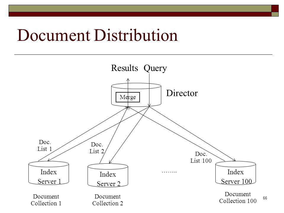 66 Document Distribution Index Server 1 Index Server 2 Index Server 100 ……..