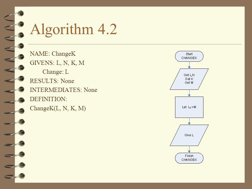Algorithm 4.2 NAME: ChangeK GIVENS: L, N, K, M Change: L RESULTS: None INTERMEDIATES: None DEFINITION: ChangeK(L, N, K, M)