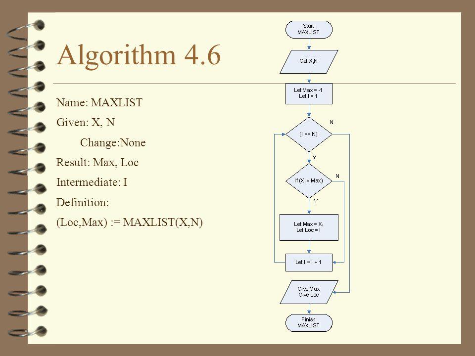 Algorithm 4.6 Name: MAXLIST Given: X, N Change:None Result: Max, Loc Intermediate: I Definition: (Loc,Max) := MAXLIST(X,N)