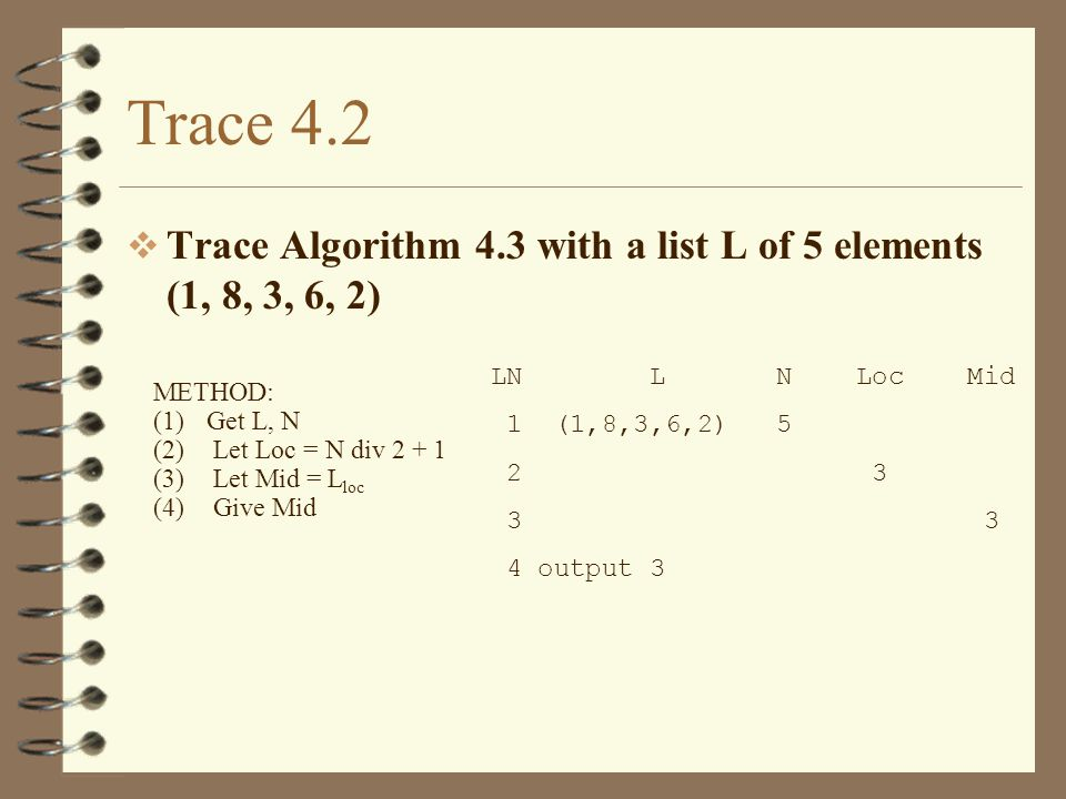 Trace 4.5 Trace algorithm 4.6 with the list (8,3,25,9) (1) Get X, N (2) Let Max = -1 (3) Let I = 1 (4) Loop When (I <= N) (5) If (X I > Max) (6) Let Max = X I (7) Let Loc = I (8) Let I = I + 1 (9) Finish Loop (10) Give Max (11) Give Loc LN X N I MAX LOC TEST 1,2,3 (8,3,25,9) 4 1 -1 4 (1 <= 4) 5 (8 > -1) 6 8 7 1 8 2 4 (2 <= 4) 5 (3 > 8) 8 3 4 (3 <= 4) 5 (25>8) 6 25 7 3 8 4 4 (4 <= 4) 5 (9>25) 8 5 4 (5 <= 4) 10 Output 25 11 Output 3