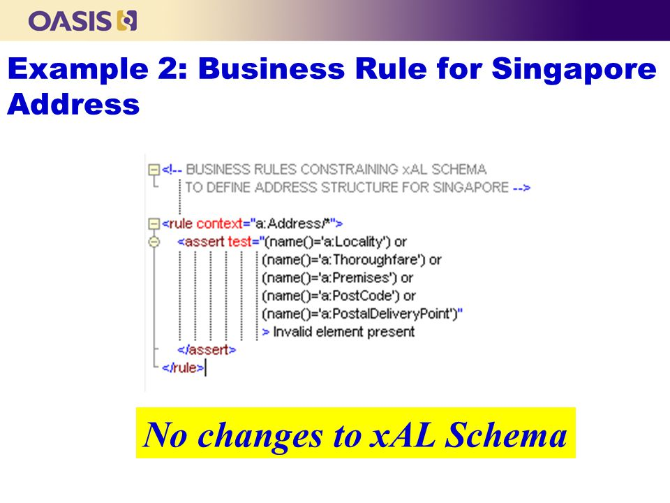 Example 2: Business Rule for Singapore Address No changes to xAL Schema