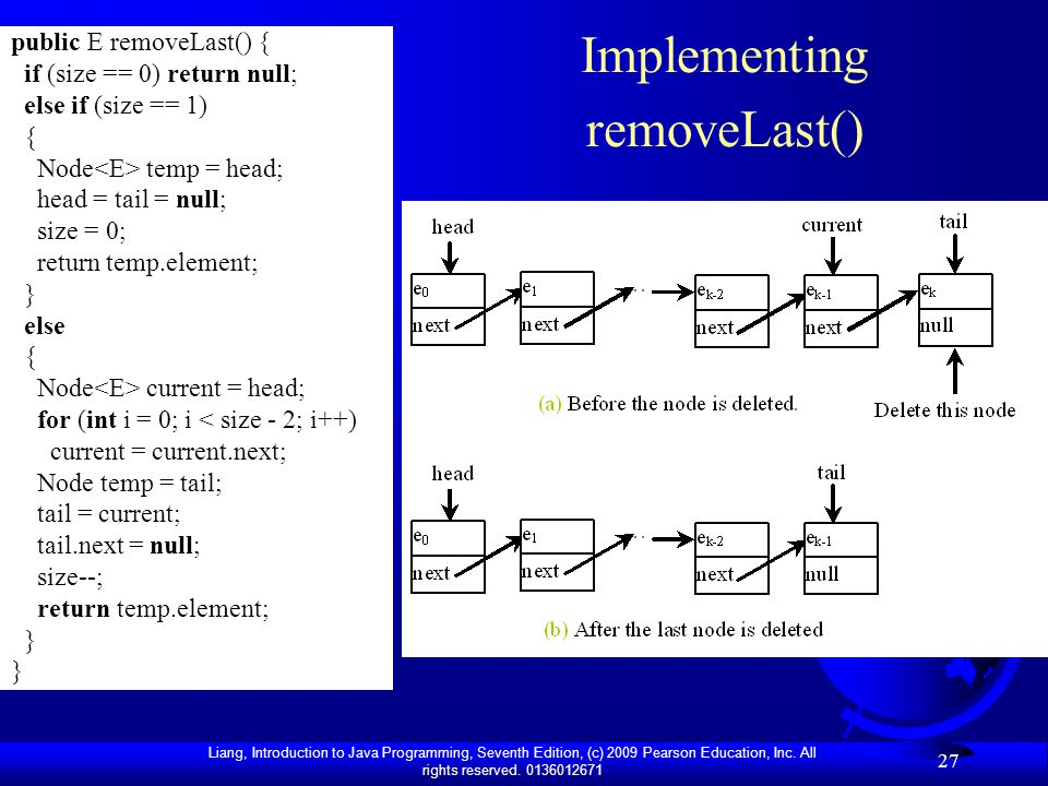 Liang, Introduction to Java Programming, Seventh Edition, (c) 2009 Pearson Education, Inc. All rights reserved. 0136012671 27 Implementing removeLast(