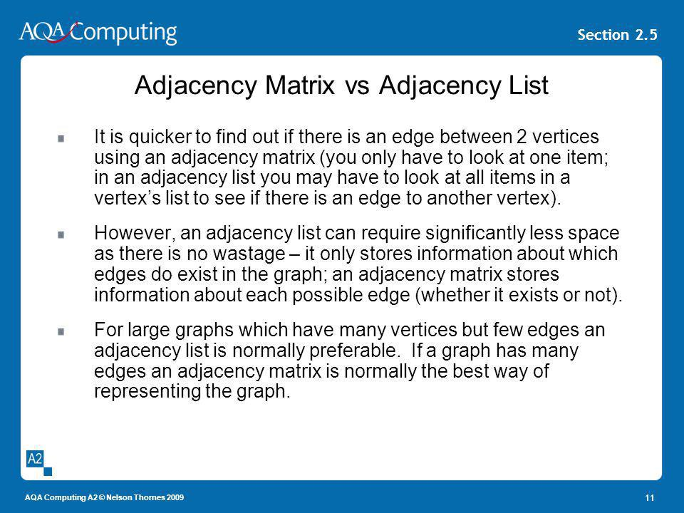 AQA Computing A2 © Nelson Thornes 2009 Section 2.5 Adjacency Matrix vs Adjacency List It is quicker to find out if there is an edge between 2 vertices