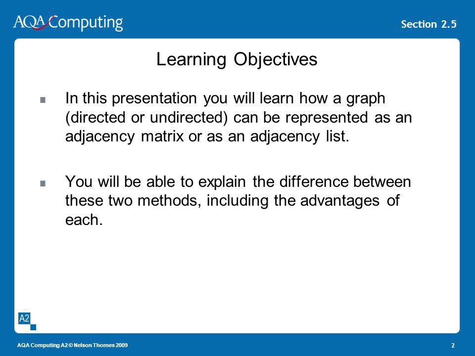 AQA Computing A2 © Nelson Thornes 2009 Section 2.5 2 Learning Objectives In this presentation you will learn how a graph (directed or undirected) can