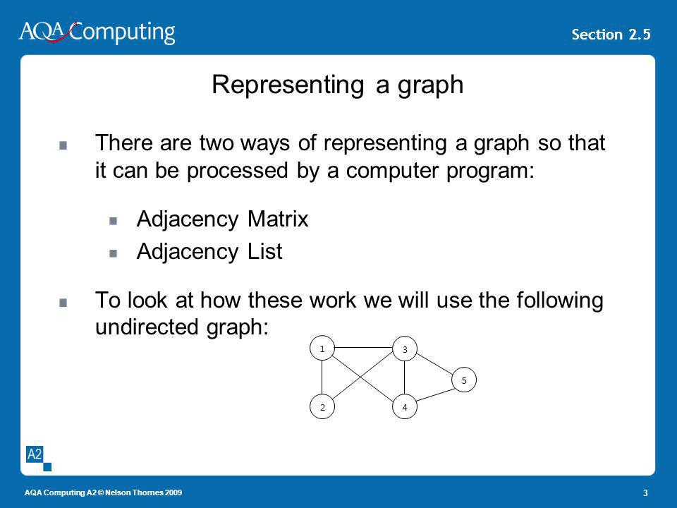 AQA Computing A2 © Nelson Thornes 2009 Section 2.5 3 Representing a graph There are two ways of representing a graph so that it can be processed by a