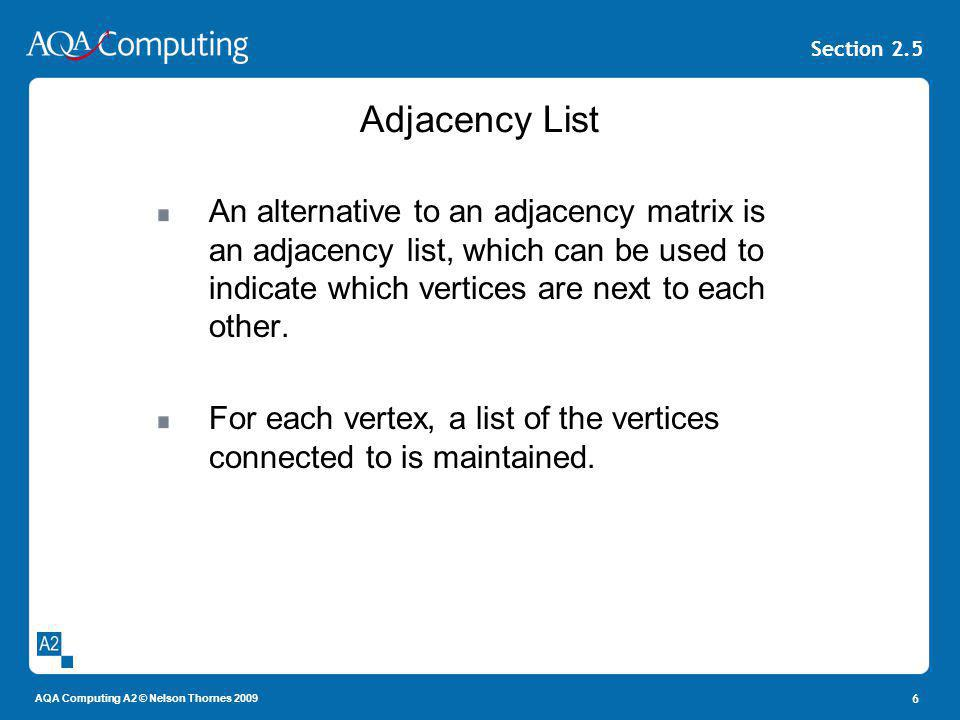 AQA Computing A2 © Nelson Thornes 2009 Section 2.5 Adjacency List An alternative to an adjacency matrix is an adjacency list, which can be used to ind