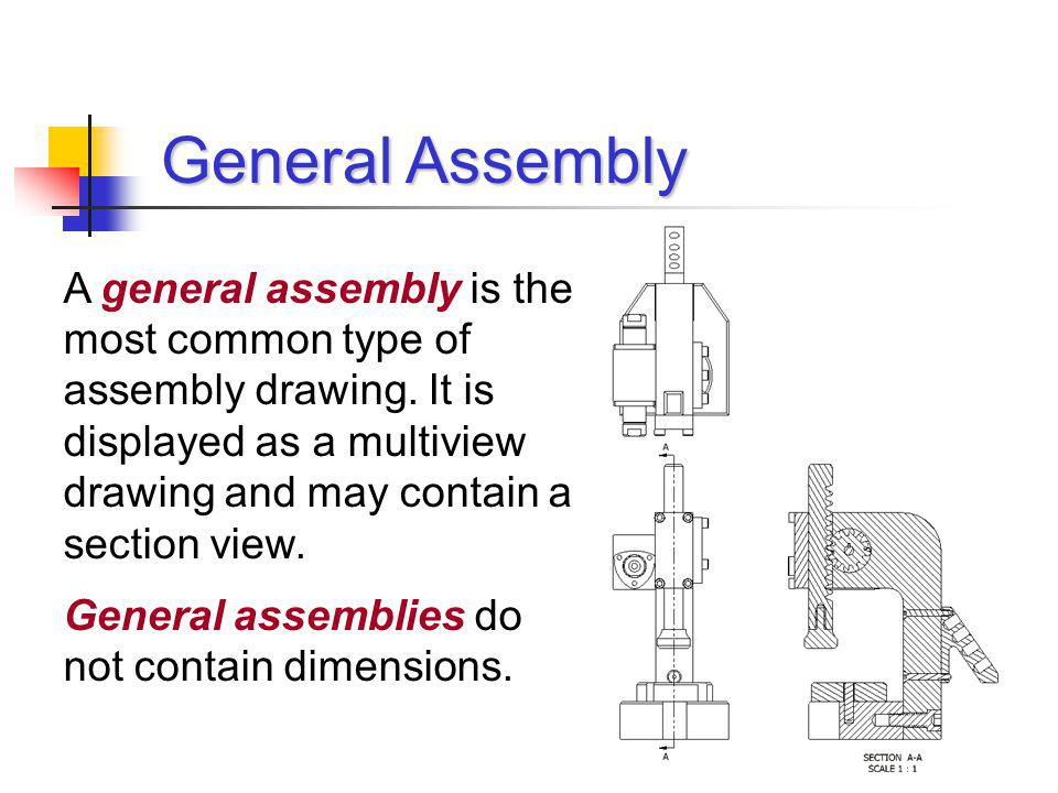 A general assembly is the most common type of assembly drawing. It is displayed as a multiview drawing and may contain a section view. General assembl
