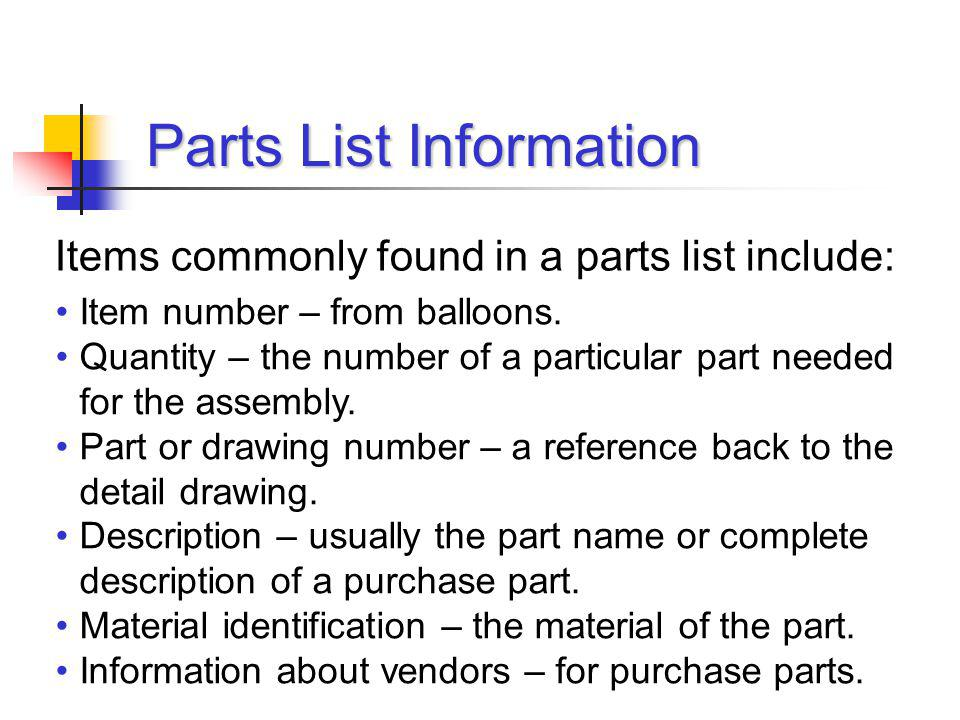 Parts List Information Item number – from balloons. Quantity – the number of a particular part needed for the assembly. Part or drawing number – a ref