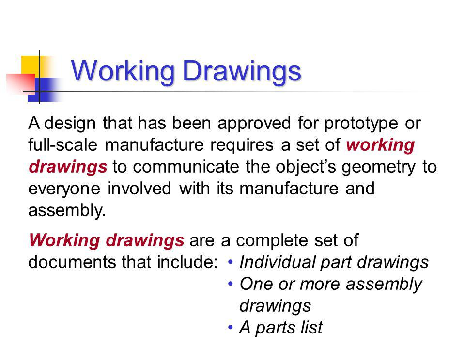 Assembly Drawings An assembly drawing shows how all of the parts of a multi-component design fit together, and are generally depicted as one or more orthographic projections.