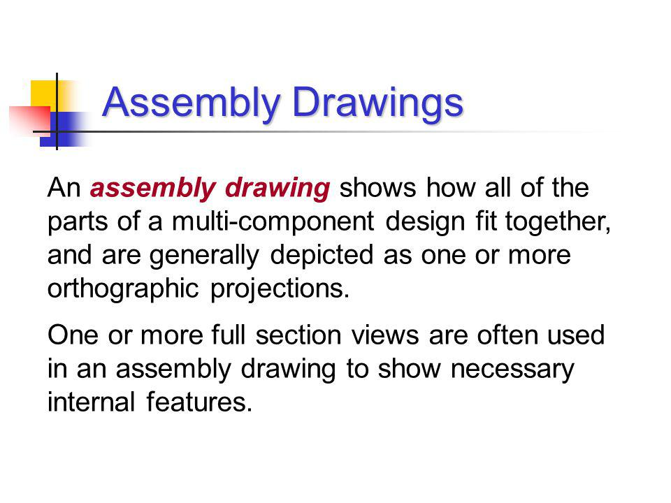 Assembly Drawings An assembly drawing shows how all of the parts of a multi-component design fit together, and are generally depicted as one or more o