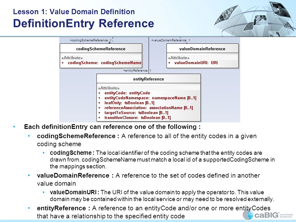 Lesson 1: Value Domain Definition DefinitionEntry Reference Each definitionEntry can reference one of the following : codingSchemeReference : A reference to all of the entity codes in a given coding scheme codingScheme : The local identifier of the coding scheme that the entity codes are drawn from.