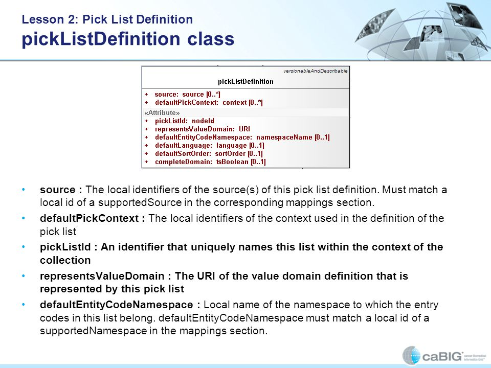 Lesson 2: Pick List Definition pickListDefinition class source : The local identifiers of the source(s) of this pick list definition.
