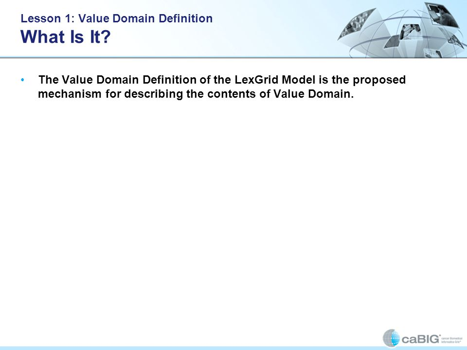 Lesson 1: Value Domain Definition What Is It.
